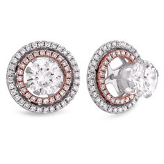These Wonderful Diamond Earrings Features A Larger Centre Diamond Of Your Choice, Surrounded By Smaller Stones, All Set With Prongs In Your Choice Of Color.