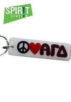 Alpha Gamma Delta Peace, Love, Greek Keychain-On sale this week! (1/20-1/26/13)