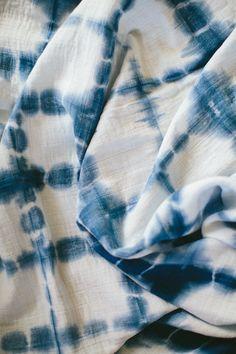 Indigo Shibori Baby Swaddle Blanket Square by IndigoMoonLove
