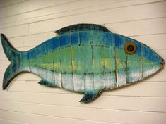 Fish Sign Beach House Weathered Wood Wall Art in Sea Glass Colours