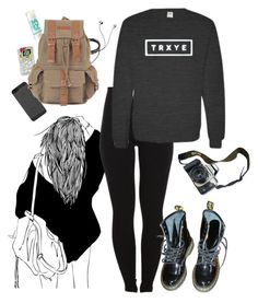 """TRXYE"" by kcrxx ❤ liked on Polyvore featuring Diane Von Furstenberg, Pieces, Maybelline, Dr. Martens and Eos"