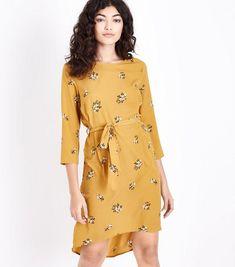 Mustard Floral Crepe Dip Hem Tunic Dress | New Look