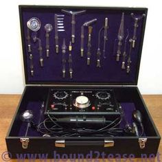 Holo-Electron violet ray ampere-metre, timer and 23 electrodes - fully working vintage violet wand restored in UK by Wands, Healing, Glass, Board, Top, Beautiful, Spinning Top, Drinkware, Walls
