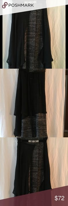 """FREE PEOPLE MIDI BOHO SKIRT, Size 2 FREE PEOPLE GRAY AND BLACK BOHO SKIRT, size 2 Skirt is combo of wool and chiffon type material.  See pic for exact material content.  Embellished velvet and leather belt.  Measures 31"""" longest in back and 24"""" at shortest length in front. 15"""" elastic waist when stretched.  NEVER WORN.  Will fit a size 4 as well. Free People Skirts Midi"""