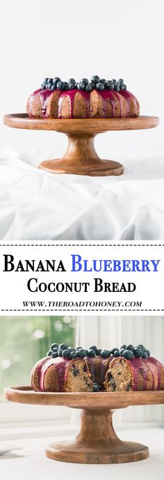 This super moist coconut banana blueberry bread topped with a sweet blueberry puree & fresh blueberries is the best banana bread you will ever have.