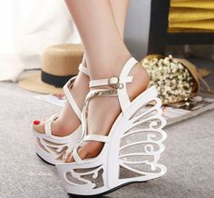 Sexy Hollow Out Platform High Wedge Sandals Club Shoes style Kelly Fashion, Club Shoes, Leather Gladiator Sandals, Super High Heels, Prom Heels, High Wedges, Unique Shoes, Open Toe Sandals, Wedge Sandals