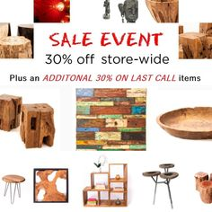Sale on now! Our best sale of the year just kicked off with storewide discounts of off including an extra off all clearance Last Call items! Shop now online or in-store at our Toronto and Vaughan showrooms. Furniture Sale, Rustic Furniture, Petrified Wood, Architectural Salvage, Last Call, Serveware, End Tables, Teak, Bowls