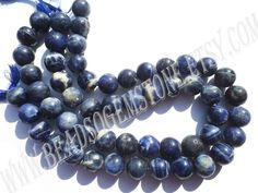 Sodalite Smooth Round (Quality C) (2Strands) / 11.5 to 15 mm / 72 to 79 Grms / 36 cm / SOD-015 by GemstoneWholesaler on Etsy