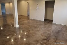 Betonböden Concrete Design from Fort Wayne completes stained and polished floor in Indiana Floor Stain, Flooring, House Design, Cement Floor, Concrete Stained Floors, Concrete Design, Concrete Floors Living Room, Concrete, Finishing Basement