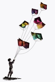 books can let your imagination fly... hold on to the memory like kite string