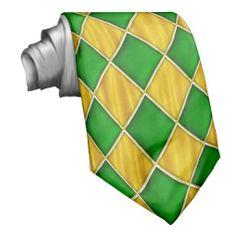 Green Diamonds on Gold Color Mardi Gras Tie