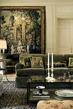 sitting room at home,light and airy with French gold leaf and a ...