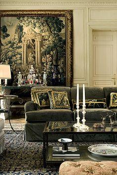 Glamorous living room designed by Allan Malouf.`