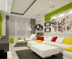 Wohnzimmereinrichtung Ideen Weisse Mbel Dekokissen Wandregale Grne Akzente