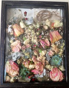 Dried out my wedding bouquet to keep the memory forever in this Shadow Box Frame! SO easy! The frame isn't too deep so the flowers don't drop when you hang it vertical! I love it!