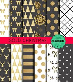 Christmas Digital paper gold and black christmas by seanorway
