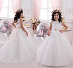 2016 Modern Cheap New Flower Girls Dresses For Weddings Lace White Illusion Neck Sashes Bow Party Birthday Dress Children Girl Pageant Gowns Online with $78.54/Piece on Yes_mrs's Store | DHgate.com