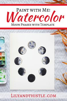 Paint with me! How to Watercolor Paint Moon Phases - Step-by-step video tutorial for beginners and kids with a template! Watercolor Moon, Watercolor Pattern, Watercolour Painting, Watercolours, Painting Art, Paintings, Space Activities For Kids, Space Crafts For Kids, Moon Phases Pictures