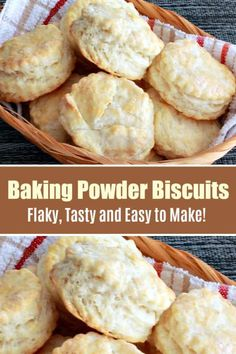 A classic no-fail recipe to make flaky and buttery Easy Baking Powder Biscuits, passed down from generation to generation. This is the best biscuit recipe! by tammi_roy Baking Soda Biscuits, Quick Biscuit Recipe, Quick Biscuits, Best Homemade Bread Recipe, How To Make Biscuits, Biscuit Recipe With Margarine, Homestyle Biscuits Recipe, Recipe For Tea Biscuits, Recipes