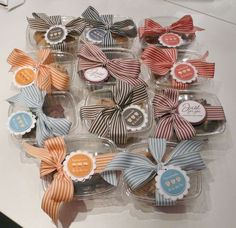 I made these cookie and brownie containers for my daughter's school bake sale. I had a lot of the wide striped ribbon and they work great with these! I used different stamp sets for the tags but m. Bake Sale Packaging, Dessert Packaging, Cookie Packaging, Pretty Packaging, Gift Packaging, Packaging Ideas, Bake Sale Treats, Bake Sale Recipes, Cookie Gifts