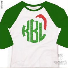 Holiday shirt monogram glitter Santa hat by zoeysattic on Etsy