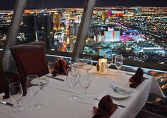 Top of the World Restaurant at the Stratosphere Hotel, Las Vegas. Rotates full 360 over the course of an hour... breath taking views of Las Vegas, equalled only by taking a night time helicopter trip down Las Vegas strip