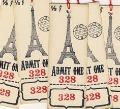 Eiffel Tower Ticket Tags 5 by woodandfabric on Etsy