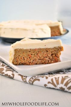 Healthy Carrot Cake made vegan and gluten free.  Oil free recipe.  The perfect healthy dessert for your holiday parties!