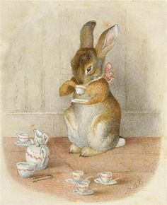by Beatrix Potter. I adore these precious Beatrix Potter characters! Art And Illustration, Rabbit Illustration, Beatrix Potter Illustrations, Book Illustrations, Beatrice Potter, Peter Rabbit, Vintage Easter, Drinking Tea, Sipping Tea