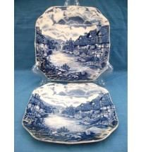 These would look good in my antique hutch!!!   1960s Pair Olde English Countryside Square Tea Plates