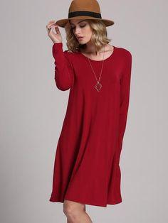 Burgundy Round Neck Shift Dress