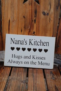 Nana's Kitchen Hugs And Kisses Always On The Menu Personalized Wood Sign ~ Personalized Grandparent Gift ~ Grandma Gift ~ Kitchen Sign