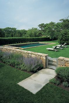 In love with this! My dream country garden. Hedging, flat lawn, stone wall and low maintenance plants (lavender, rosemary etc).  STEPHEN STIMSON ASSOCIATES | STONE MEADOW