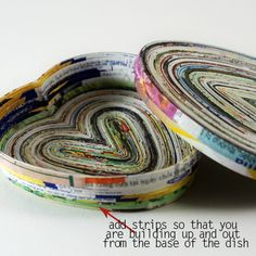 Recycled Magazine Page Heart Dish (via Saved By Love Creations)