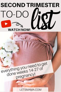Here is your one place for what you need to get done during your second trimester. In order to not get overwhelmed during your third trimester by having too much to do, click through to watch and get your second trimester to do list, done! >> WATCH HERE New Parent Advice, Mom Advice, Parenting Advice, Second Trimester, Newborn Baby Care, Baby Care Tips, Breastfeeding And Pumping, First Time Moms