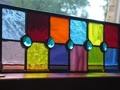 Stained glass brilliantly colored with a by stanfordglassshop, $45.00