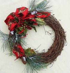 Items similar to Christmas Grapevine wreath. Katherines Collections bow, Katherines Collection Red and Green poinsettia wreath, Pine Wreath, Winter wreath on Etsy Christmas Mesh Wreaths, Deco Mesh Wreaths, Holiday Wreaths, Door Wreaths, Ribbon Wreaths, Winter Wreaths, Floral Wreaths, Spring Wreaths, Christmas Door