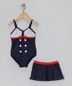 Navy Sailor Girl One-Piece  Skirt - Infant, Toddler  Girls