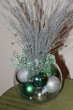 Christmas Centerpiece - Green and Silver Holiday Decor Christmas Vases, Elegant Christmas Decor, Christmas Table Centerpieces, Handmade Christmas Decorations, Rustic Christmas, Xmas Decorations, Christmas Holidays, Christmas Wreaths, Holiday Decor