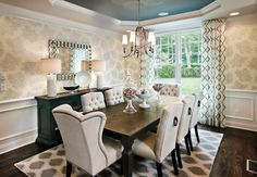 This traditional style dining room room with its solid wood flooring and neutral tones has class in abundance, and these cream fabric wingback chairs are ...