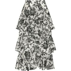 Erdem Simone tiered fil coupé midi skirt, Women's, Size: 14 (11.614.015 IDR) ❤ liked on Polyvore featuring skirts, erdem, white, layered ruffle skirt, erdem skirt, white knee length skirt and midi skirt