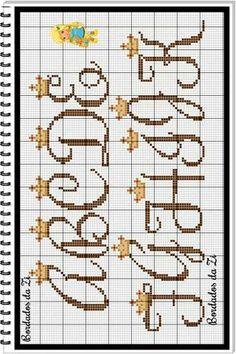 Cross Stitch Letters, Cross Stitch Boards, Embroidery Letters, Embroidery Fonts, Cross Stitching, Cross Stitch Embroidery, Pixel Crochet Blanket, Plastic Canvas Letters, Bobble Stitch