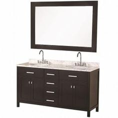 London 61 in. Vanity in Espresso with Marble Vanity Top in Carrera White and Mirror-DEC076A at The Home Depot