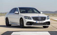 Lataa kuva Mercedes S63 AMG, 2018, 4Matic, Valkoinen S-class, luxury sedan, tuning S-class, valkoinen Mercedes, Designo diamand valkoinen kirkas, Mercedes