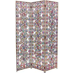 @Overstock - Create an attractive shabby chic style with this distinctive metal frame decorative panel screen. This see-through room divider is decorated with beautiful faux cut glass and faux cut crystal in a colorful floral pattern.http://www.overstock.com/Worldstock-Fair-Trade/Tall-Winter-and-Spring-5.5-foot-Jeweled-Room-Divider-China/7627231/product.html?CID=214117 $367.99