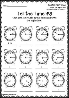This packet is a selection of time worksheets and assessments. It is designed for grade (common core aligned to the telling time standard below). NOTE: It can still be used in other year levels (is very suitable for and First Grade Math Worksheets, Printable Math Worksheets, Second Grade Math, Teaching Time, Teaching Math, Maths, Creative Activities For Kids, Time Activities, Math Lessons