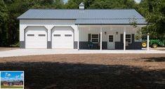 This garage was built for Phil & Judy of Eatonton, GA Special Features: Morton's Hi-Rib Steel Cupola Loft Door Windows w/ Shutters Fiberst. Metal Garage Buildings, Pole Buildings, Shop Buildings, Steel Buildings, Metal Garages, Barn Garage, Garage House, Garage Plans, Garage Shop