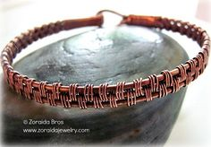 Men's Basket Weave Copper Bracelet