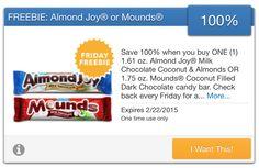 FREE Almond Joy or Mounds Candy courtesy of SavingStar