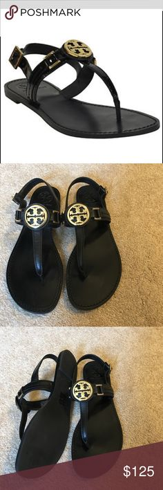 Tory Burch Cassia Flat Thong Sandal Like New! Only worn once Gold Logo Tory Burch Flat Thong Sandal with Back Strap in Black Leather- includes box Tory Burch Shoes